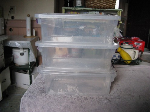 Plastic storage with lids