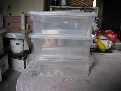 Plastic storage with lids