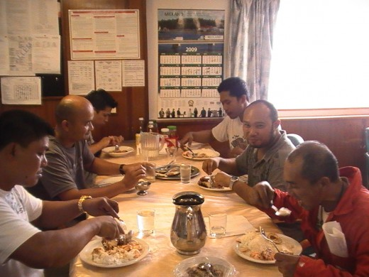 Filipino seafarers during lunchtime (M/V Utviken-Wallem Philippines,25August2009) (Photo by: Travel Man)