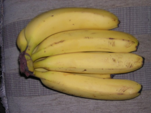 Near ripe medium bananas