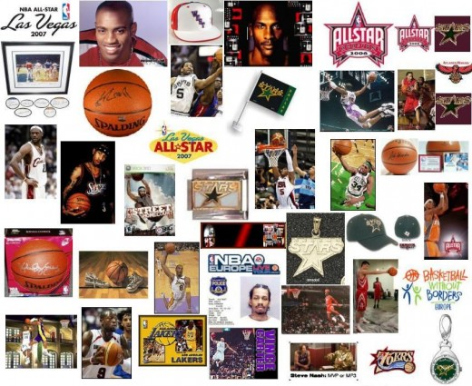 A collage of NBA players.