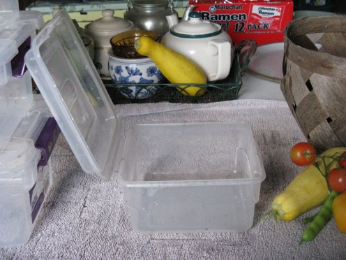 A small clear box with attached lid. Nice as doesn't get lost.