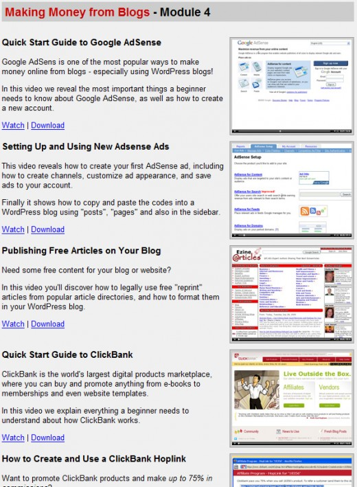 Wordpress Wizard 2.0 Members area , Make Money Blogging section
