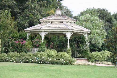 You can't tell size from this shot but this is a very grand Gazebo, it could probably hold 45 people or so!