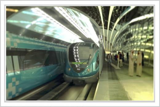 Dubai metro train at station