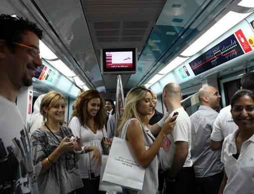 Inside of dubai metro train