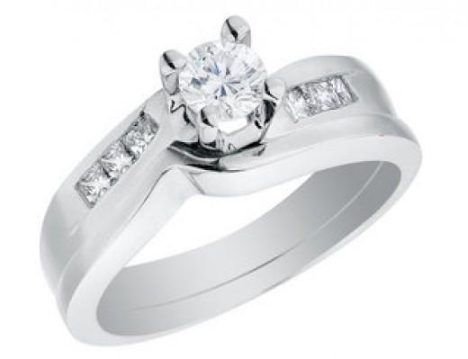 Diamond Engagement Ring Wedding Band Set 1 2 Carat ctw in 14K White Gold