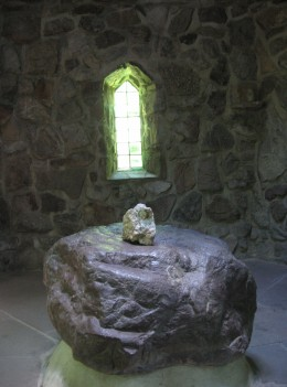 "The Stone of ""Centering and Grounding"" inside the St. Columba Chapel"