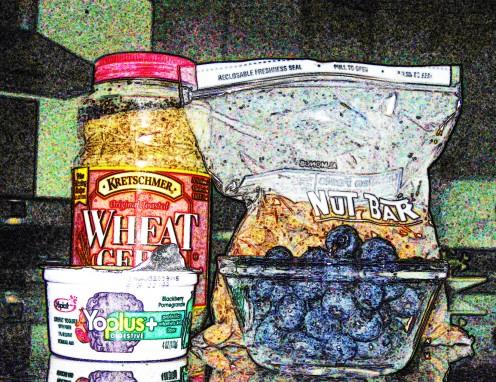 wheat germ, raw almonds, blueberries, probiotic yogurt