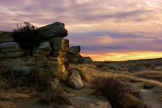 Sunrise at Writing On Stone National Park