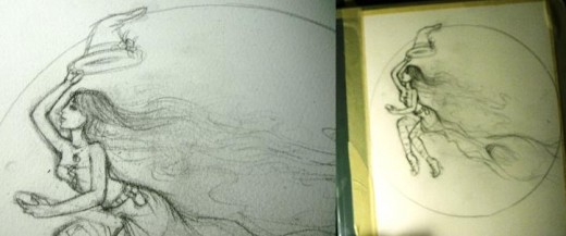 [LEFT]Here's my sketch, which note, is a little too dark.  [RIGHT] Tape your paper down to surface you can paint on.