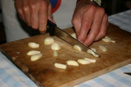 then cut into smaller pieces then boiled in milk