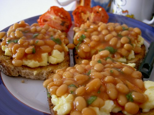 Another idea: beans, eggs and toast.