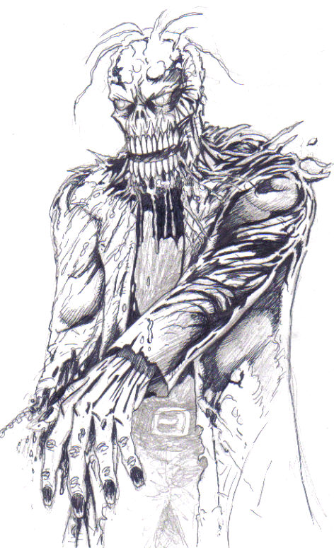 An unfinished sketch in black ink and pencil of a zombie, my personal favourite creature to draw ever, take alook at how the drawing is worked out on the page, with the folds of the dark shading on the ragged clothing, this type of outlining helps to