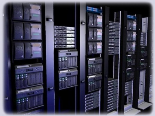 Server rack at a large webhost
