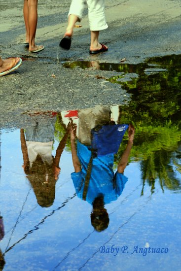 Reflection on a puddle of water