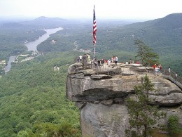 On top of Chimney Rock inside Chimney Rock State Park