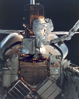 The space shuttle's cargo bay.
