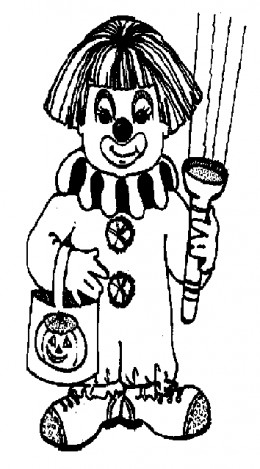 Early Childhood Education Online - Halloween Zombie Kids Colouring Pictures to Print - Clown