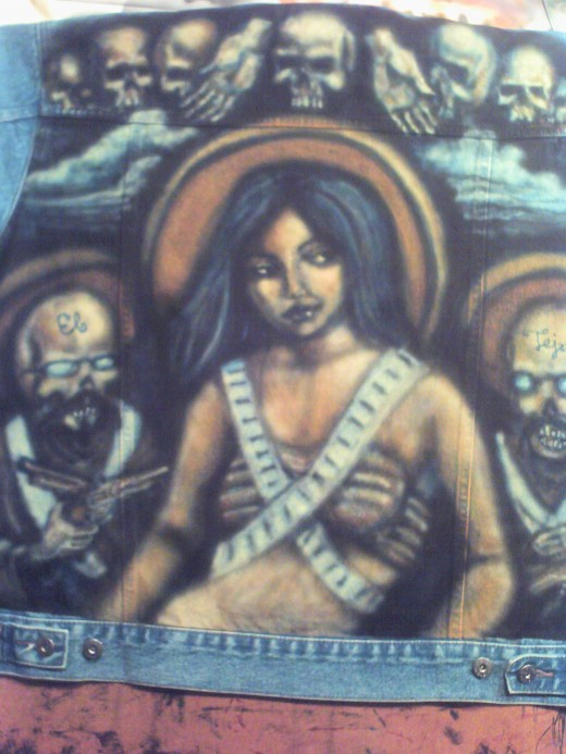 """La Pistolera"" aka El Tejano's Jacket, acrylic on denim, 2009, Richard Van Ingram"