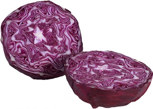 A Nice Red Cabbage Sliced in Half