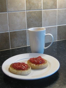Mixed Fruit Compote on toasted crumpets.