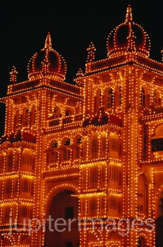 Illuminated palace-closer view