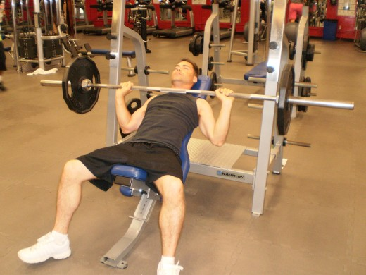 The Incline Bench Press down position
