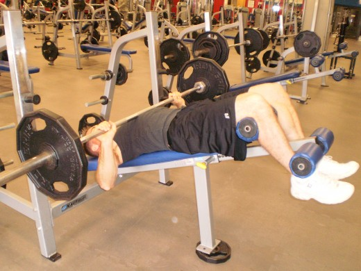 The Decline Bench Press down position