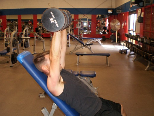 The Incline Dumbbell bench press up position