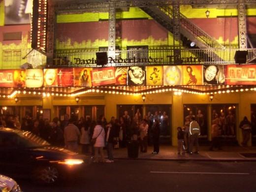 NYC theater district street scene.