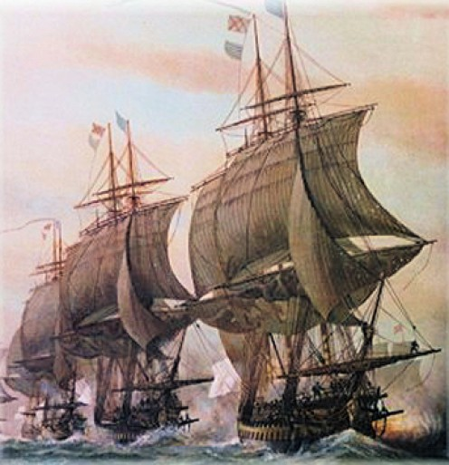 """Second Battle Off Virginia Capes."" 19th c.  painting owned by US Navy at the Hampton Roads Naval Museum in Norfolk, VA."