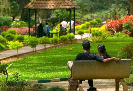 Cubbon park, seen from behind High court. A music band stand present in the park is also seen i the picture