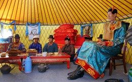 Offering of the tea to Bao by the bride-to-be's family as part of the traditional Mongolian Ceremony