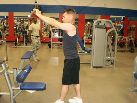 The Straight Arm Pulldown starting position