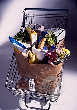 A typical cart carrying groceries.