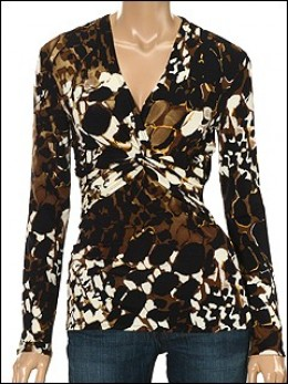 Kay Celine Animal Print Front Knot L/S Top $58.00