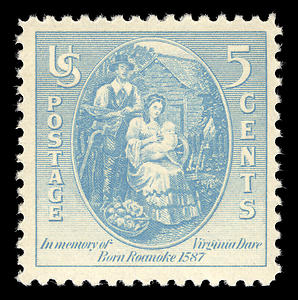 Stamp commemorating the birth of Virgina Dare.