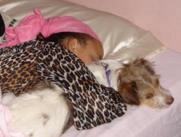 A girl cuddling with her Jack Russell Terrier.