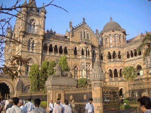 The famous 'Chatrrpathi Shivaji Terminus'-main railway station building in Mumbai. Built on the British style in 19th century, It is  always crowded.It is here, pak sponsered terrorists attacked innocent common people .This is in the nerve centre of