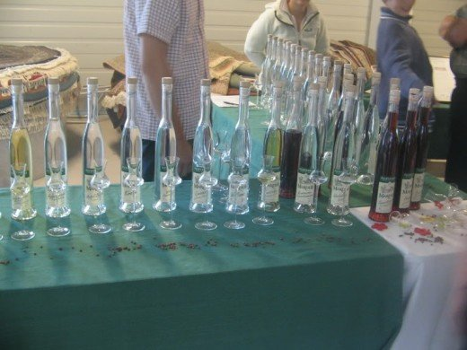 A schnapps tasting event, note the traditional schnapps glasses.