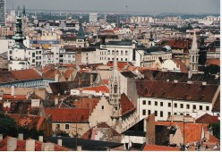 Bratislava city-scape showing the old town in the foreground.