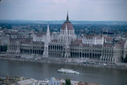 Budapest's massive Parliament from Castle Hill.