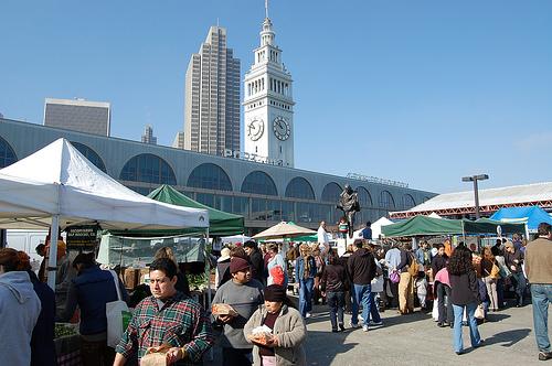 A weekend farmers' market in session.  Photo courtesy mediaboytodd via Flickr