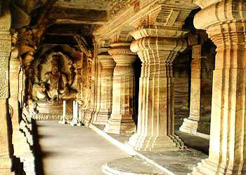 A grand view of One of the four cave temples in Badami.Pillers, statue at the rear end, terrace, etc..all are made of one stone.