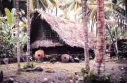 Traditional style structure with stone money indicating great wealth. Most stones were mined on Palau and carried by outrigger canoe some 450 kilometers (250 miles).