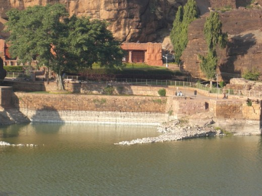 View seen infront of Badami caves. The museum building can be seen