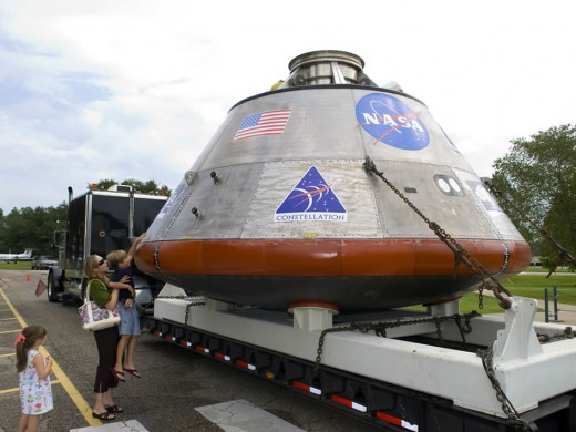 A model of the Orion Crew Exploration Vehicle.