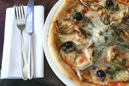 If frogs legs on your pizza aren't disgusting enough, add some anchovy sorbet to them! Ugh...