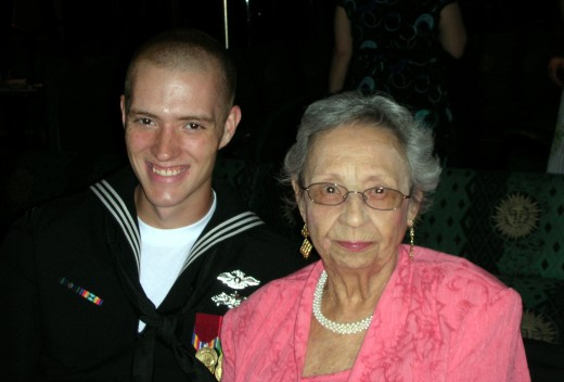 Enjoying dinner with grandson from Navy